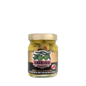 Chalkidiki Green Olives with red pepper350gr jar